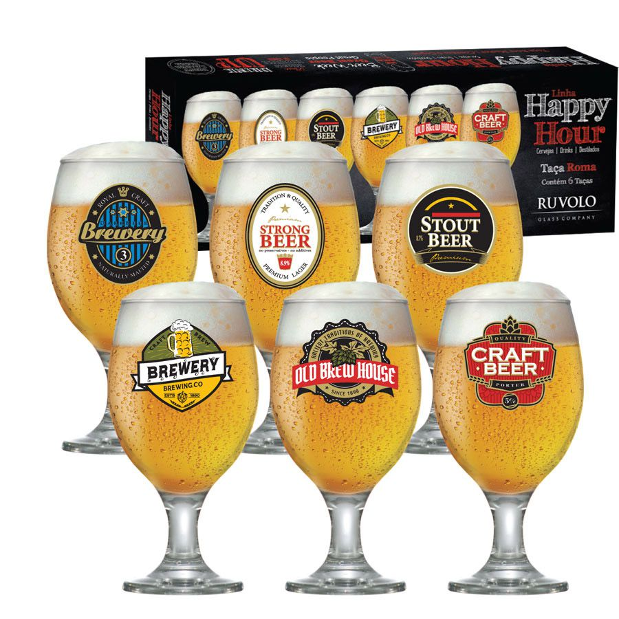 Jogo de Taça de Cerveja Vidro Roma 400 ml 6 Pcs