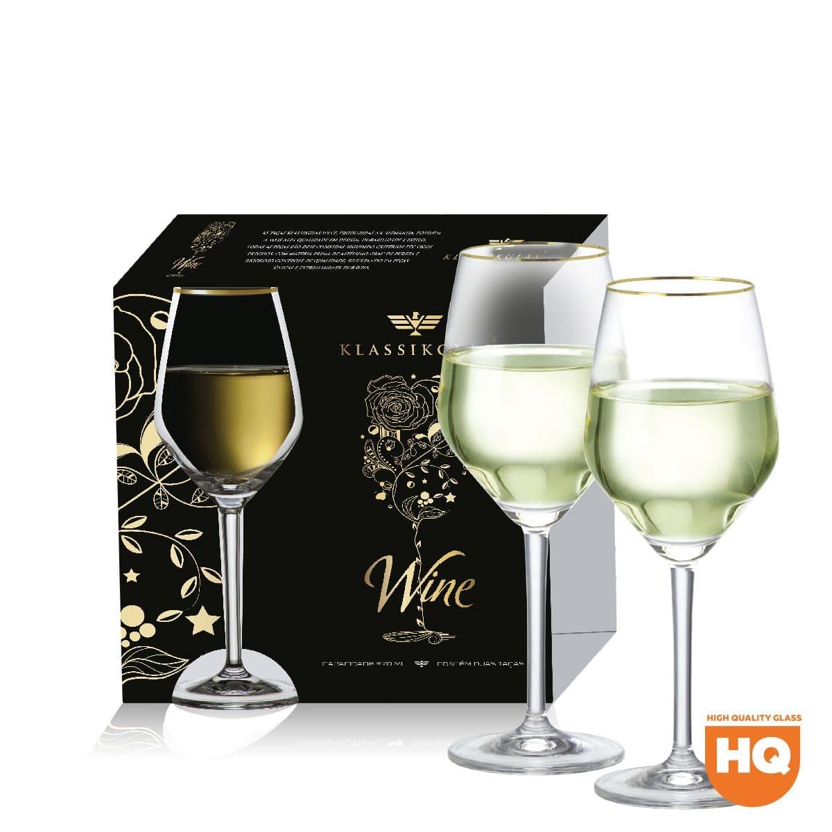 Jogo de Taça Vinho Branco Elegance de Cristal com 375ml 2 pçs