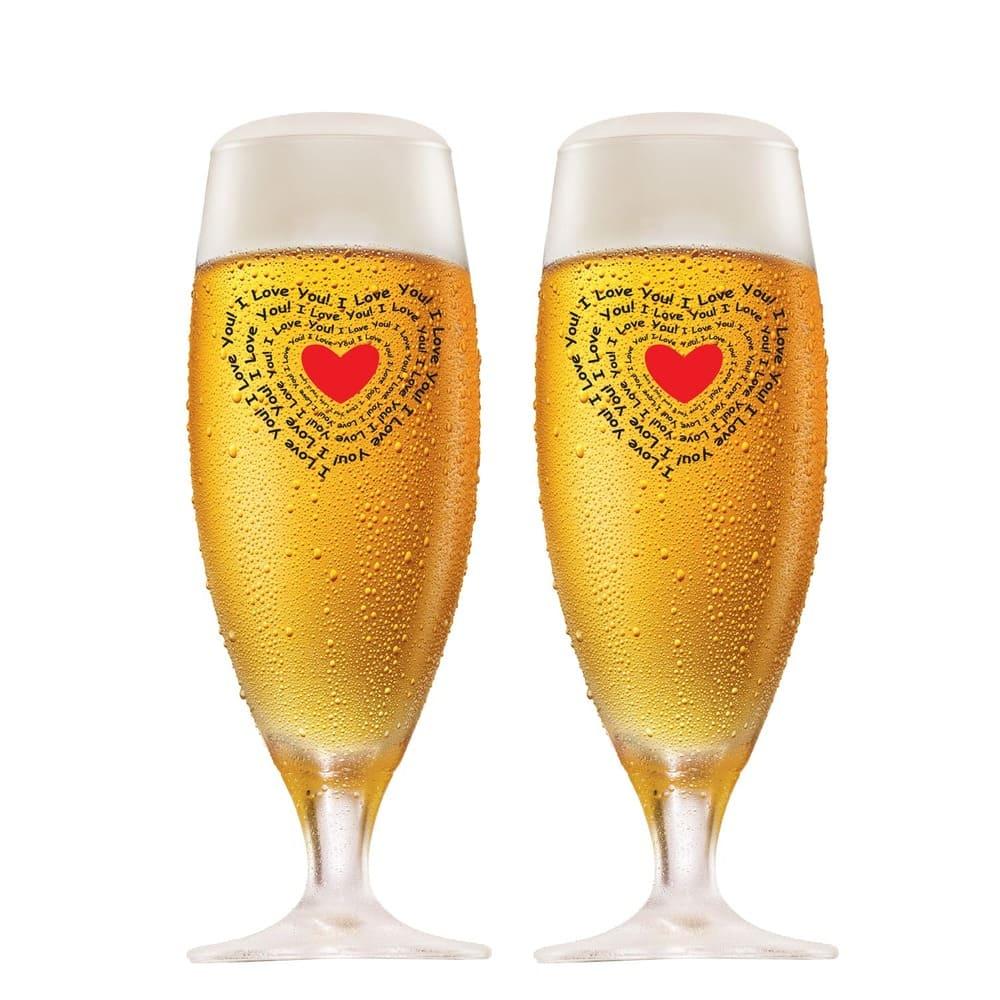 Jogo de Taças de Cerveja G Cristal 380ml  I Love You 2 Pcs