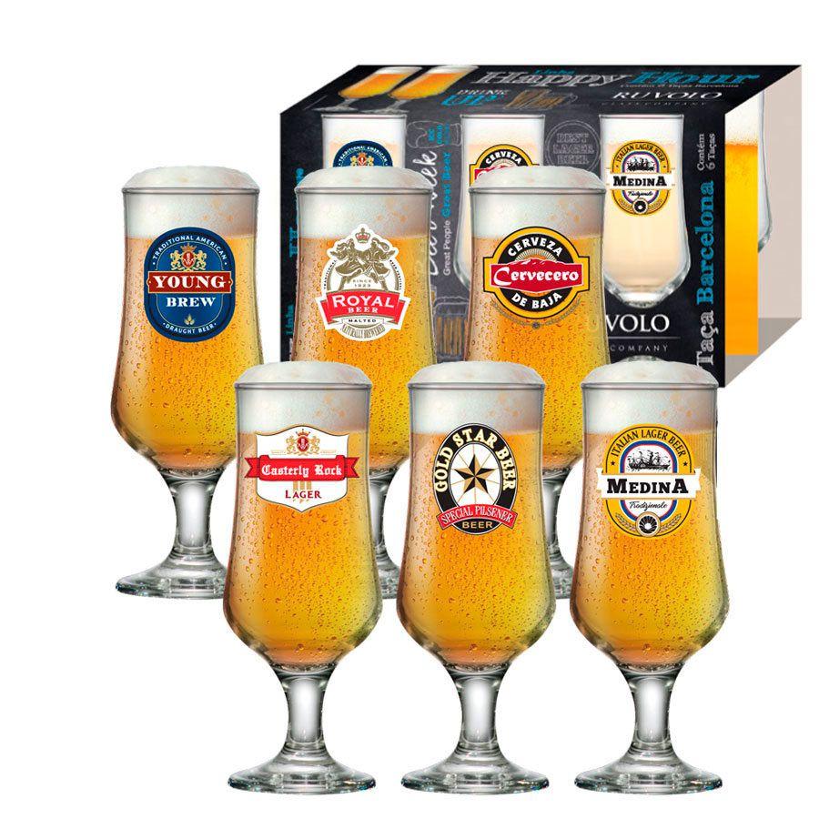 Jogo de Taças de Cerveja HH Barcelona 370  ml Luva 6 Pcs