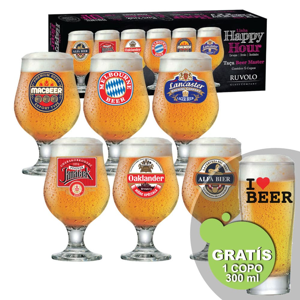 Jogo de Taças de Cerveja HH Beer Master 6 Pcs + Brinde