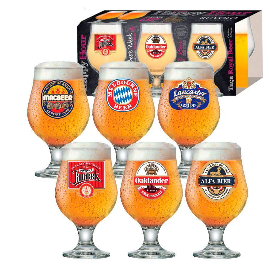 Jogo de Taças de Cerveja HH Beer Master 380 ml Luva 6 Pcs