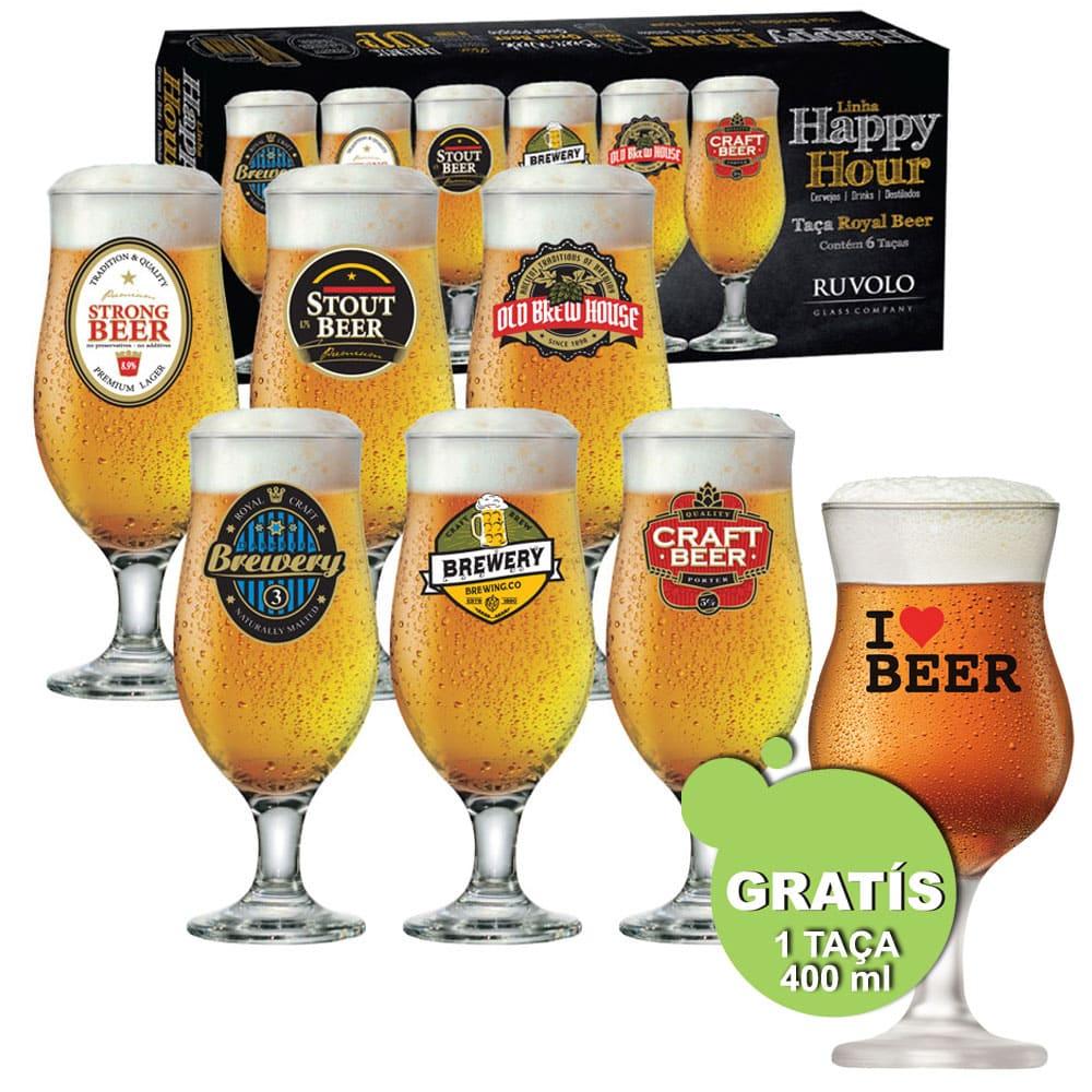 Jogo de Taças de Cerveja HH Royal Beer 320 ml 6 pcs + Brinde