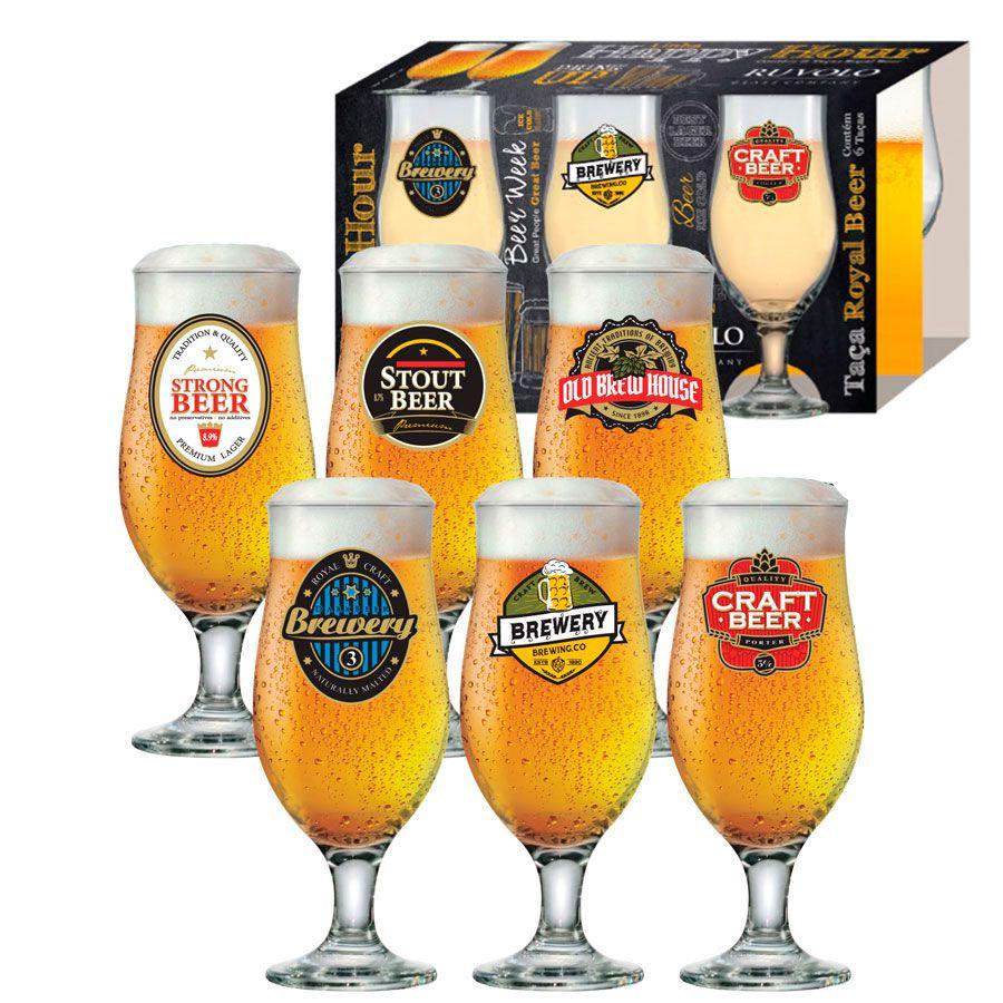 Jogo de Taças de Cerveja HH Royal Beer 330 ml Luva 6 pcs