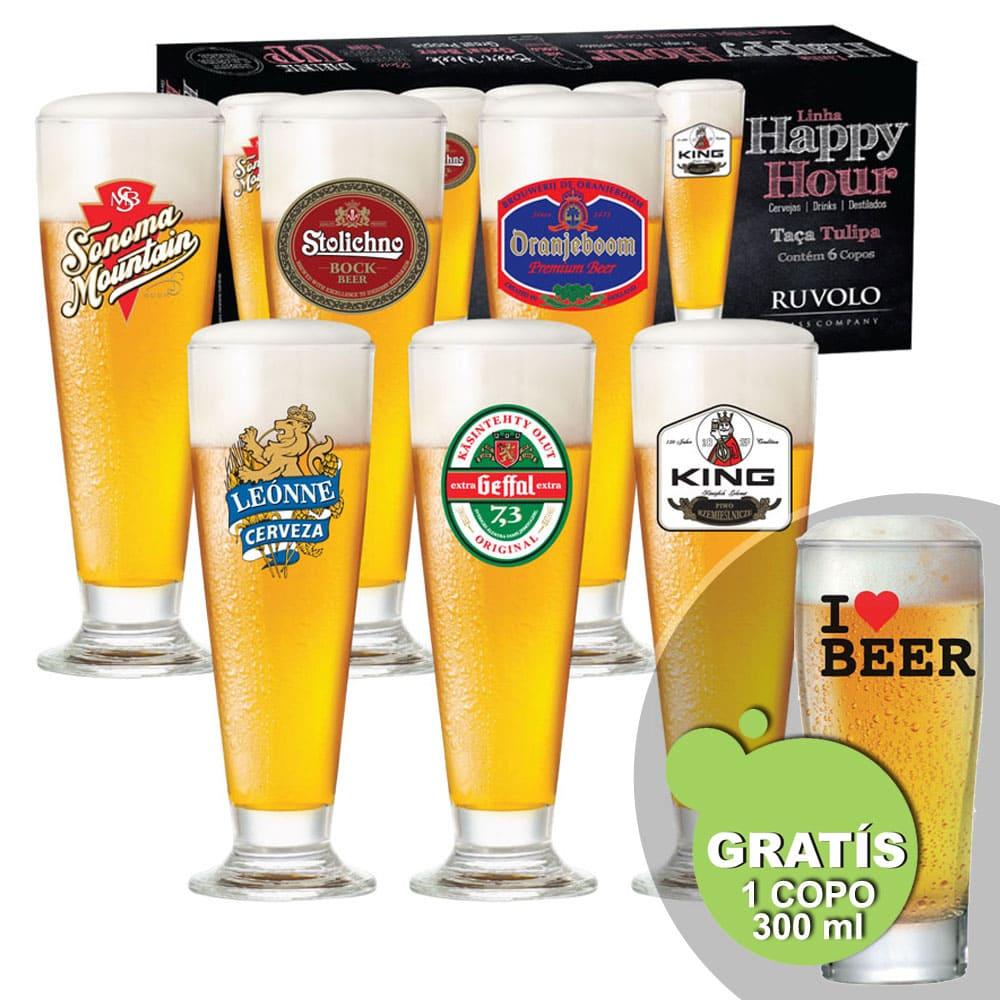 Jogo de Taças de Cerveja HH Tulipa 300 ml 6 Pcs + Brinde