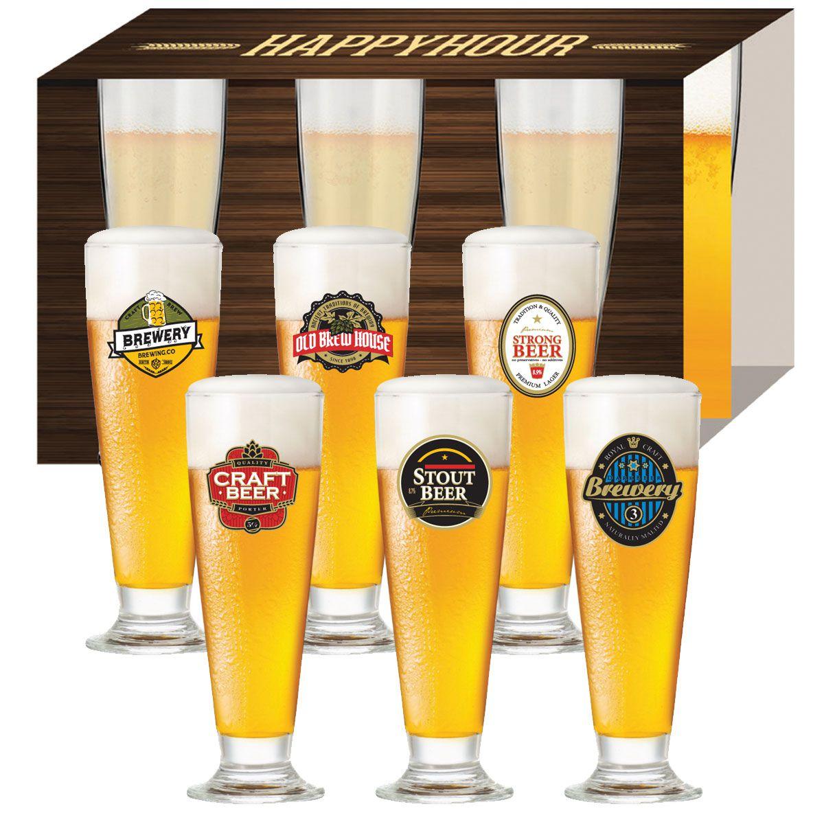 Jogo de Taças de Cerveja HH Tulipa 300 ml Luva 6 Pcs
