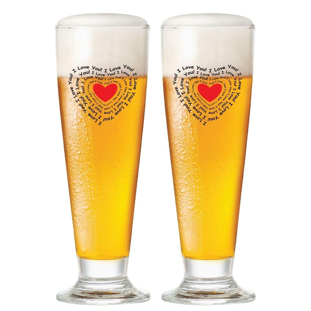 Jogo de Taças de Cerveja Tulipa G Vidro 300ml I Love You 2 Pcs