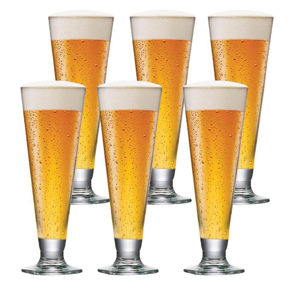 Jogo de Taças de Cerveja Tulipa Reta Cristal 300ml 6 Pcs