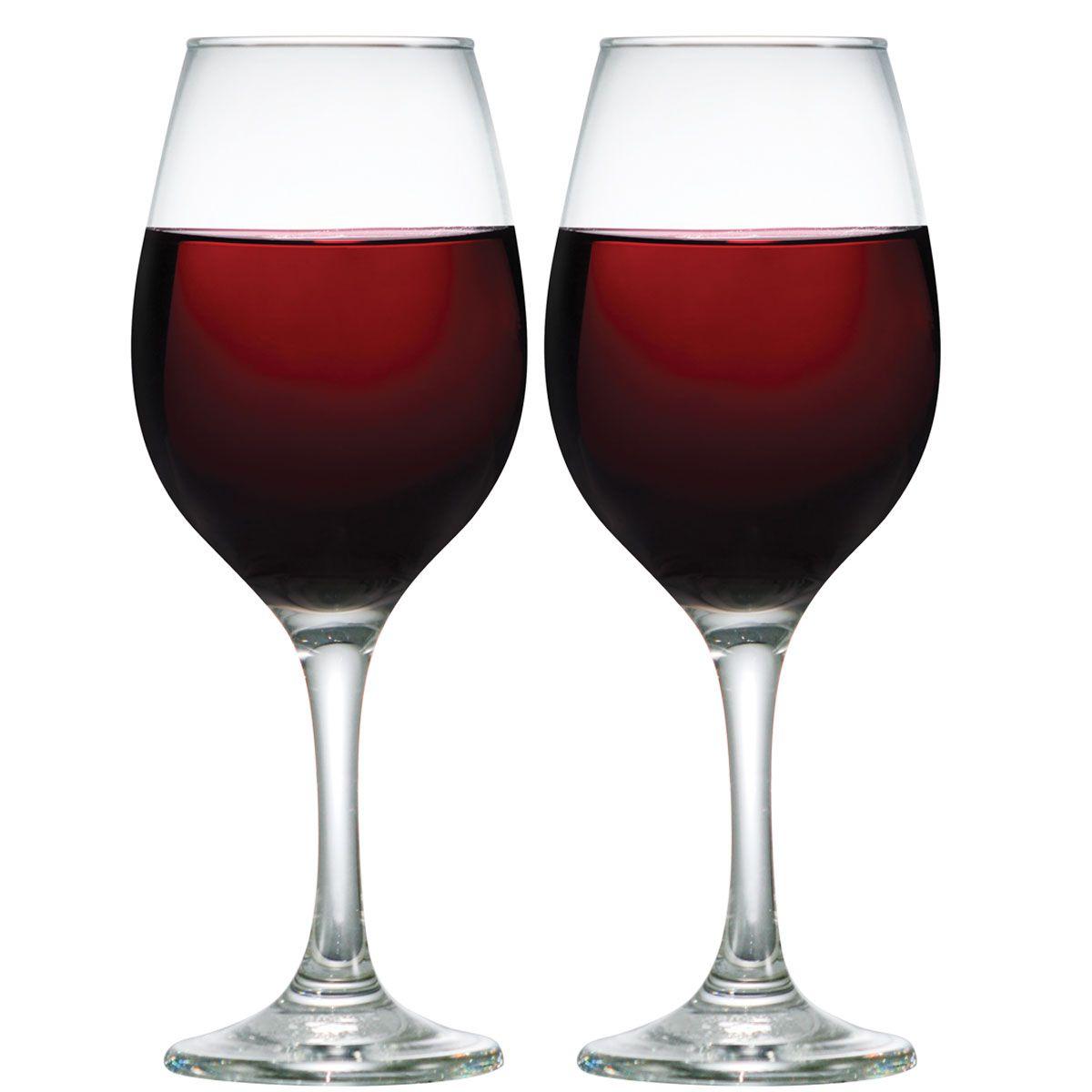 Kit Com 2 Taças De Vidro Para Vinho Tinto De 385ml