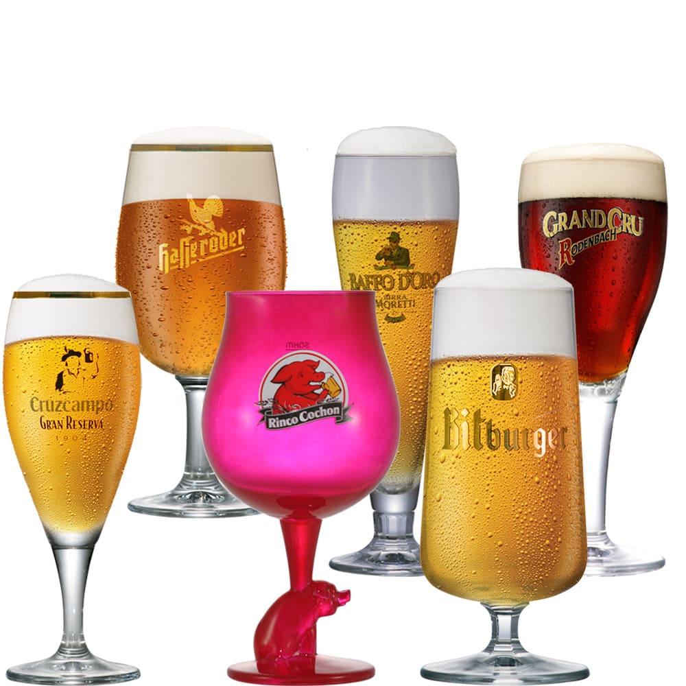 Kit Taças de Cerveja Coleção Cervejas do Mundo 6 pçs
