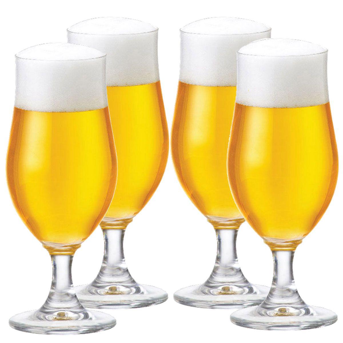 Taça Cerveja Pilsen Nevada Cristal 370ml Kit c/ 04 Peças