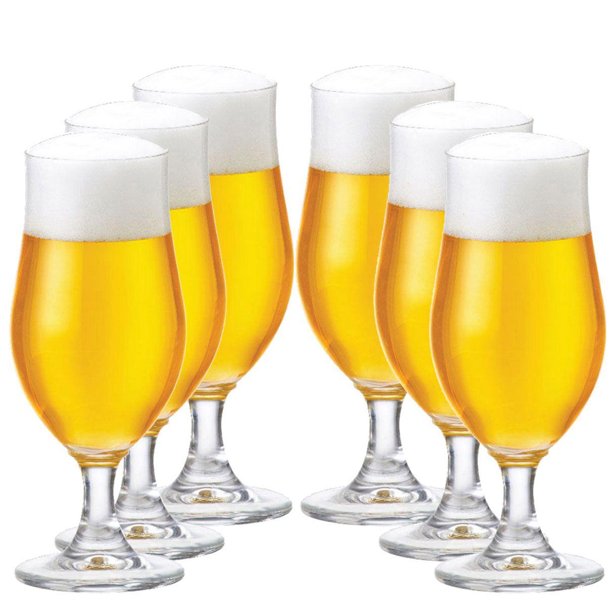 Taça Cerveja Pilsen Nevada Cristal 380ml Kit c/ 06 Peças