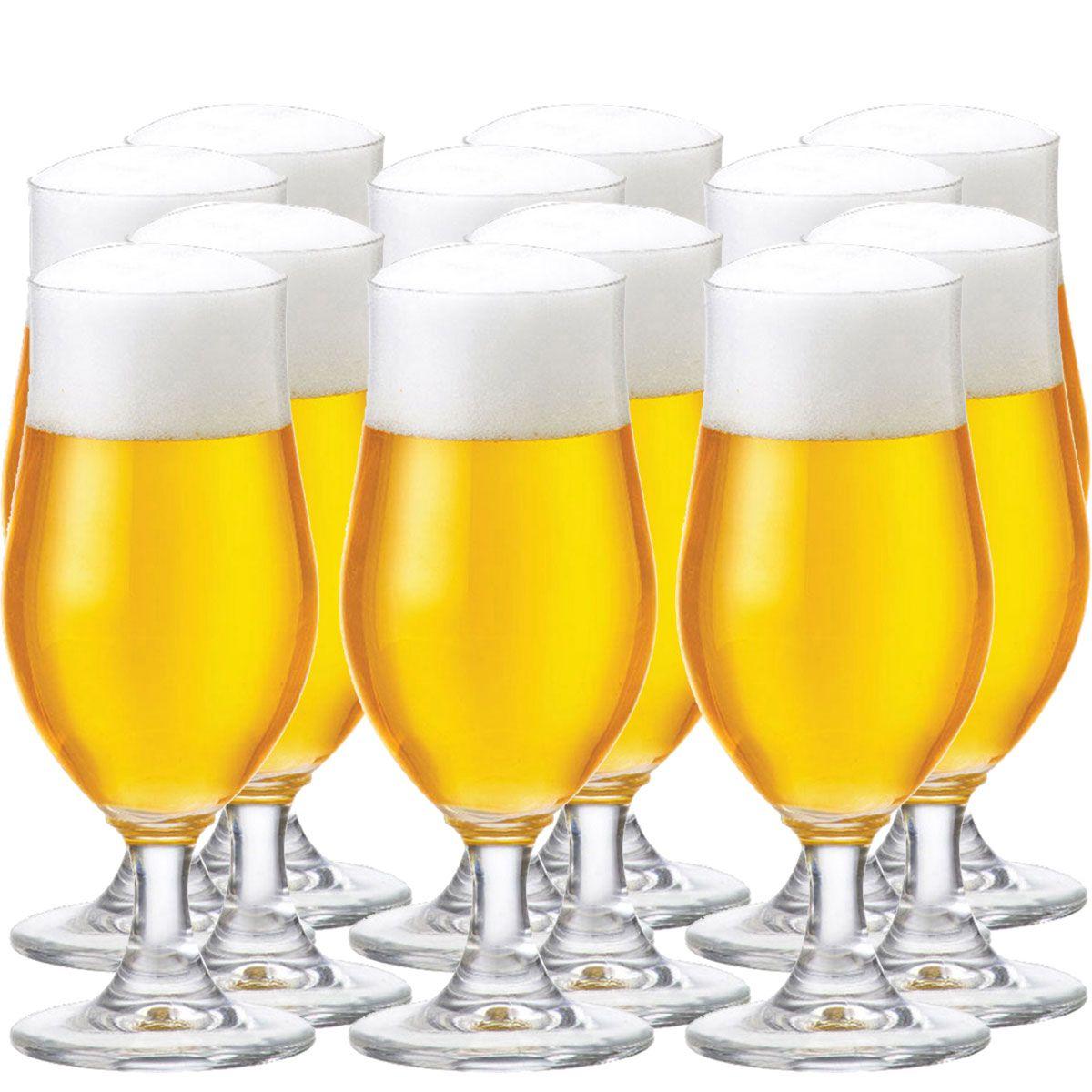 Taça Cerveja Pilsen Nevada Cristal 380ml Kit c/ 12 Peças