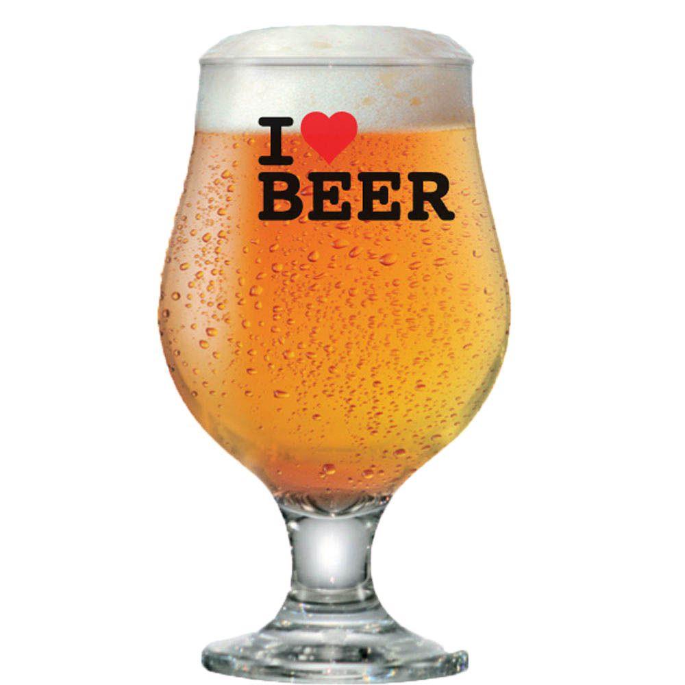 Taça Cerveja Vidro Tulipa Beer Master 380ml I Love Beer 6 pcs