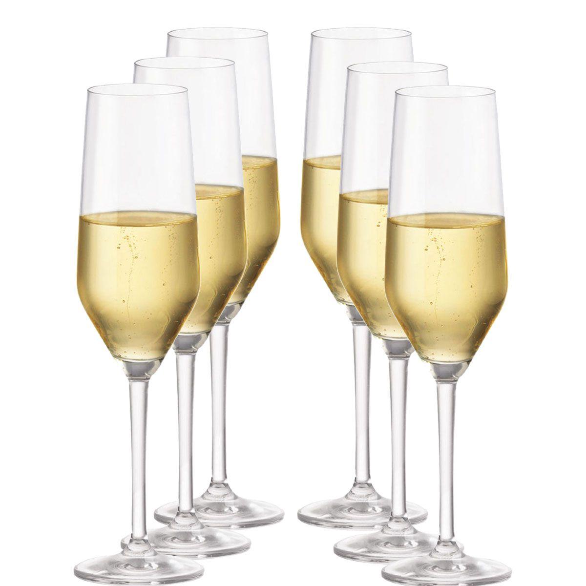 Taça Champagne Cristal - Taça Champanhe Elegance 260ml 6pc