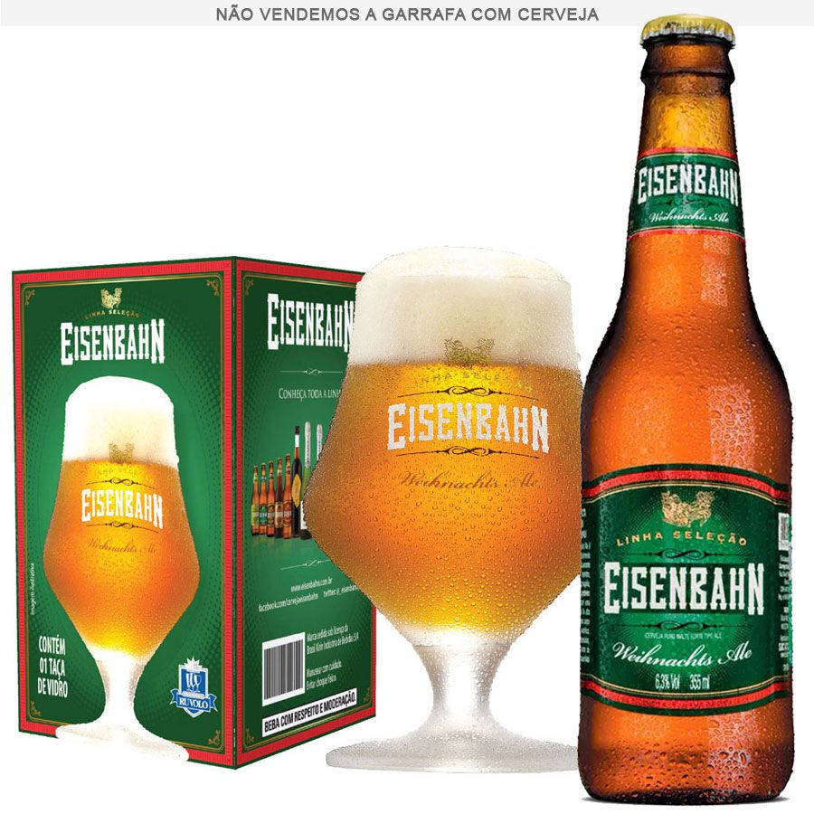 Taça de Cerveja Cristal Eisenbahn Weihnachts Ale 430ml