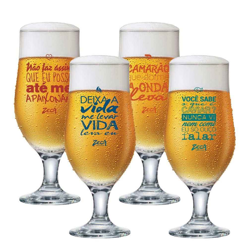 Taça de Cerveja Zeca Pagodinho Vidro Royal Beer 330ml 4 Pcs