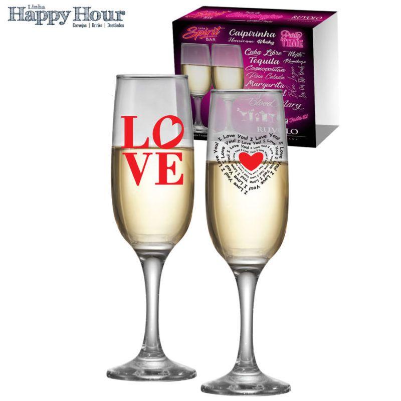 Taça de Champagne Vidro Love 215ml - 2 Peças