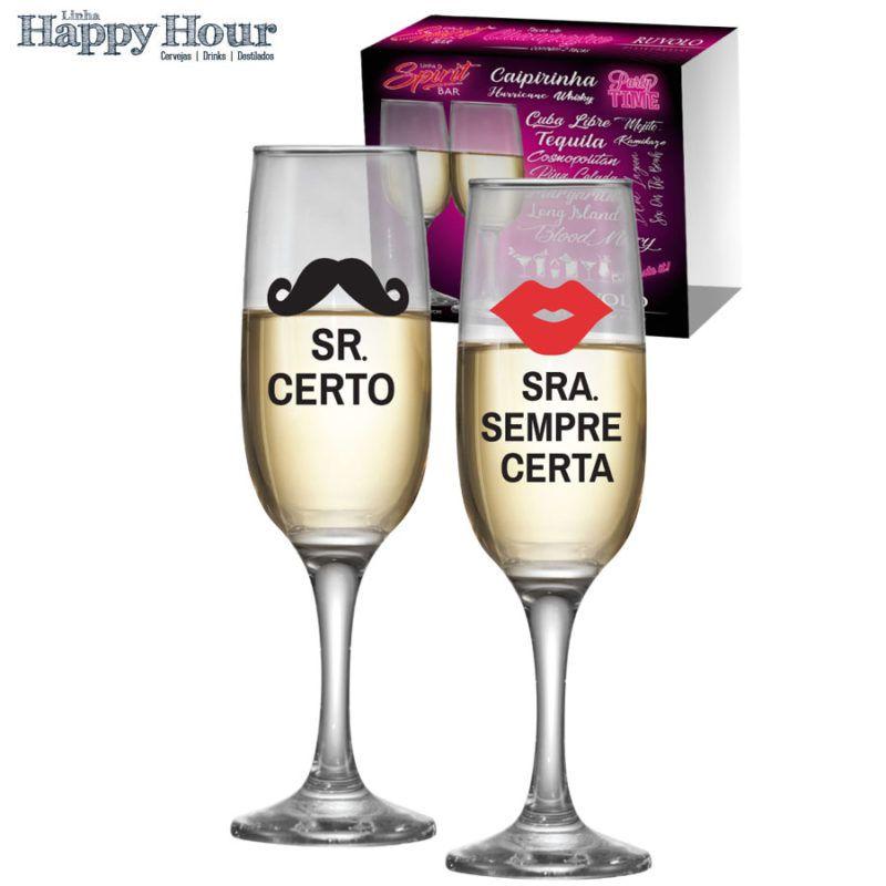 Taça de Champagne Sr. Certo e Sra. Sempre Certa 215ml - 2 Peças