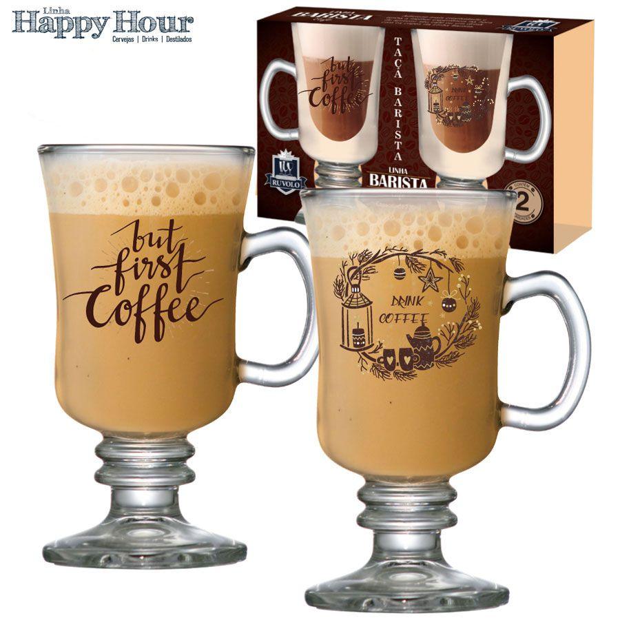 Taça para Café Vidro Barista First Coffee 240ml
