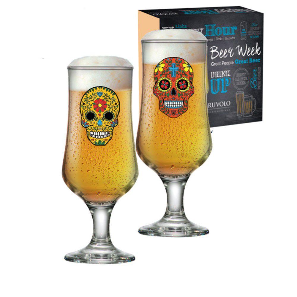 Taças de Cerveja Barcelona Caveira Happy Hour 2 pcs