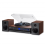 Vitrola Toca Disco e Toca CD Raveo Aria Bluetooth Radio USB Controle Remoto