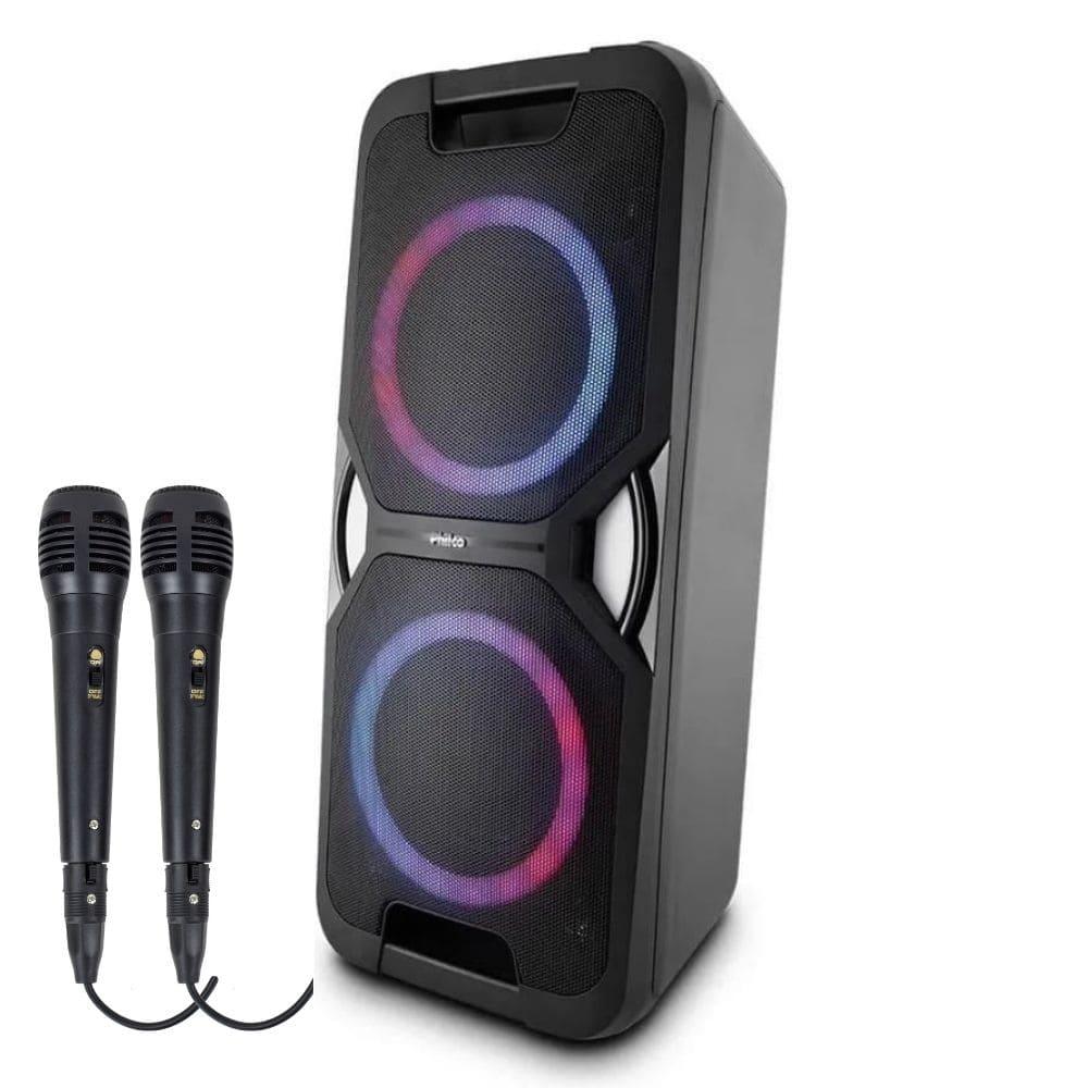Caixa Acústica Philco PCX 5600 Potente LED USB 02 Microfones