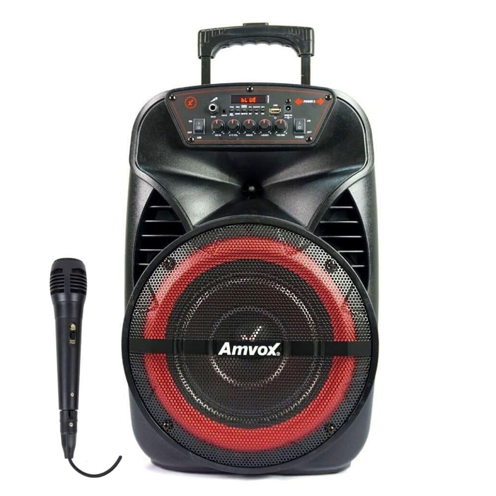 Caixa Amplificada Amvox ACA 280 BLACK - 280w com Microfone