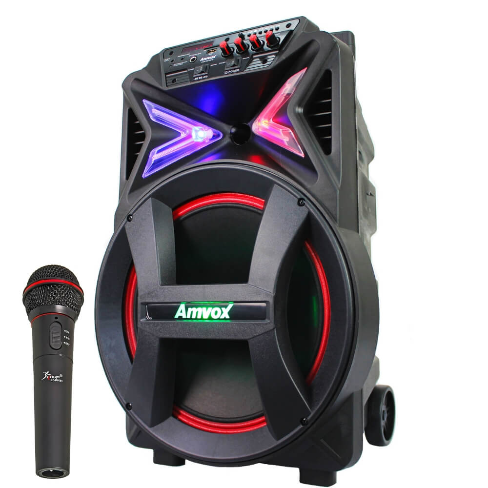 Caixa Amplificada Amvox ACA 292 - 290w Bluetooth USB FM auxiliar Microfone