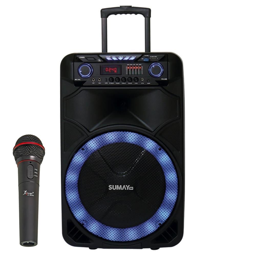 Caixa Amplificada Sumay Thunder X 1000w - Bateria c/ Microfone