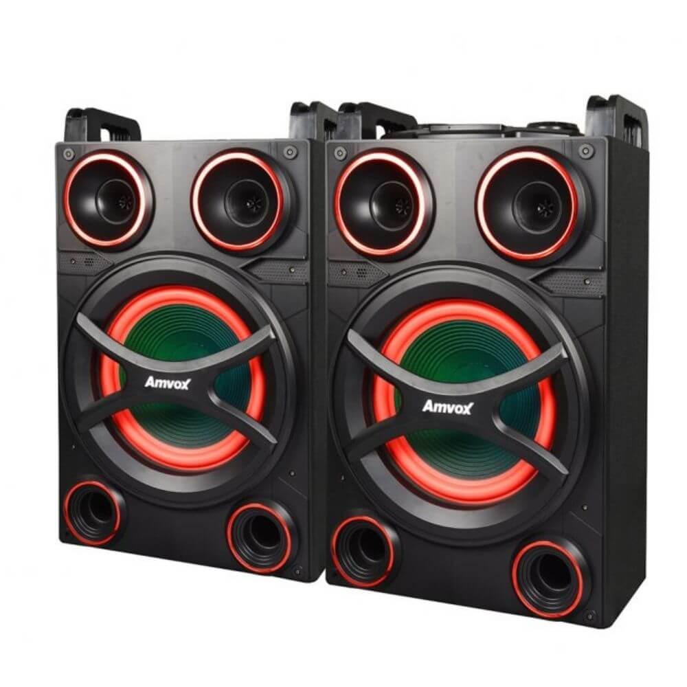 Caixa de Som Amplificada Amvox ACA 1010 Twin - 1000w Bluetooth