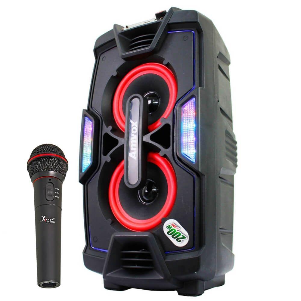Caixa de som Amplificada Amvox ACA200 200w Mp3 Usb Cartao Sd Microfone