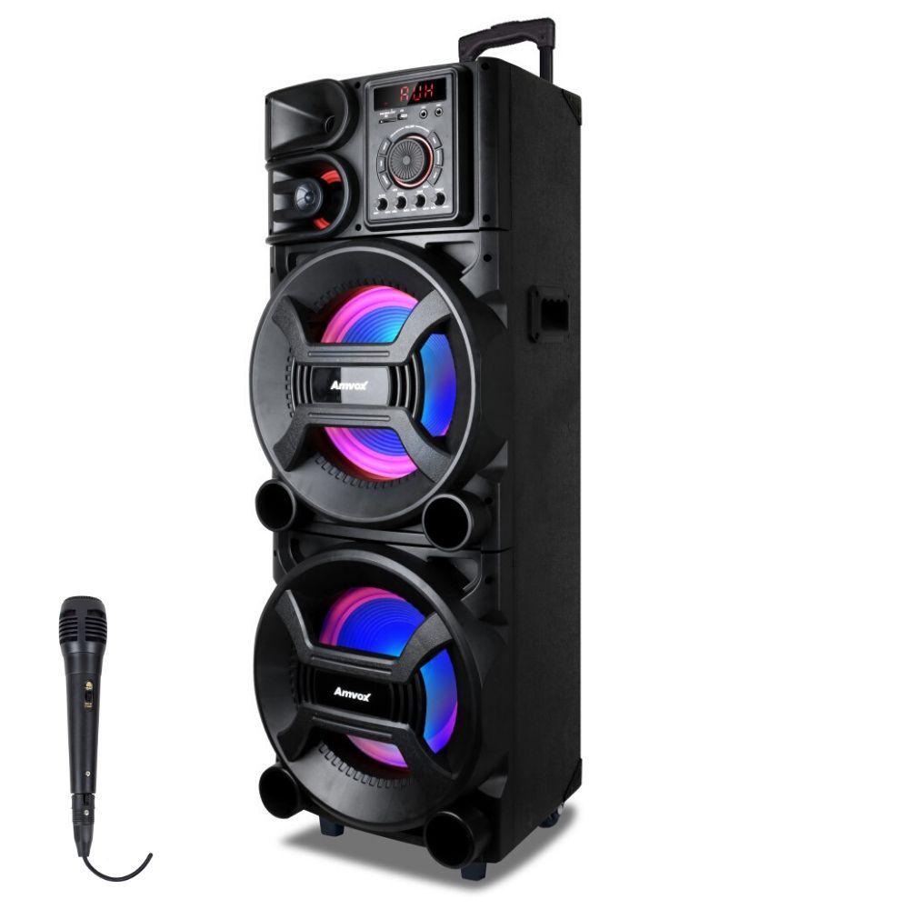 Caixa de Som Amplificada Amvox ACA 1001 New X 1000w Bluetooth, USB, Equalizador, Controle Remoto, Microfone Com Fio