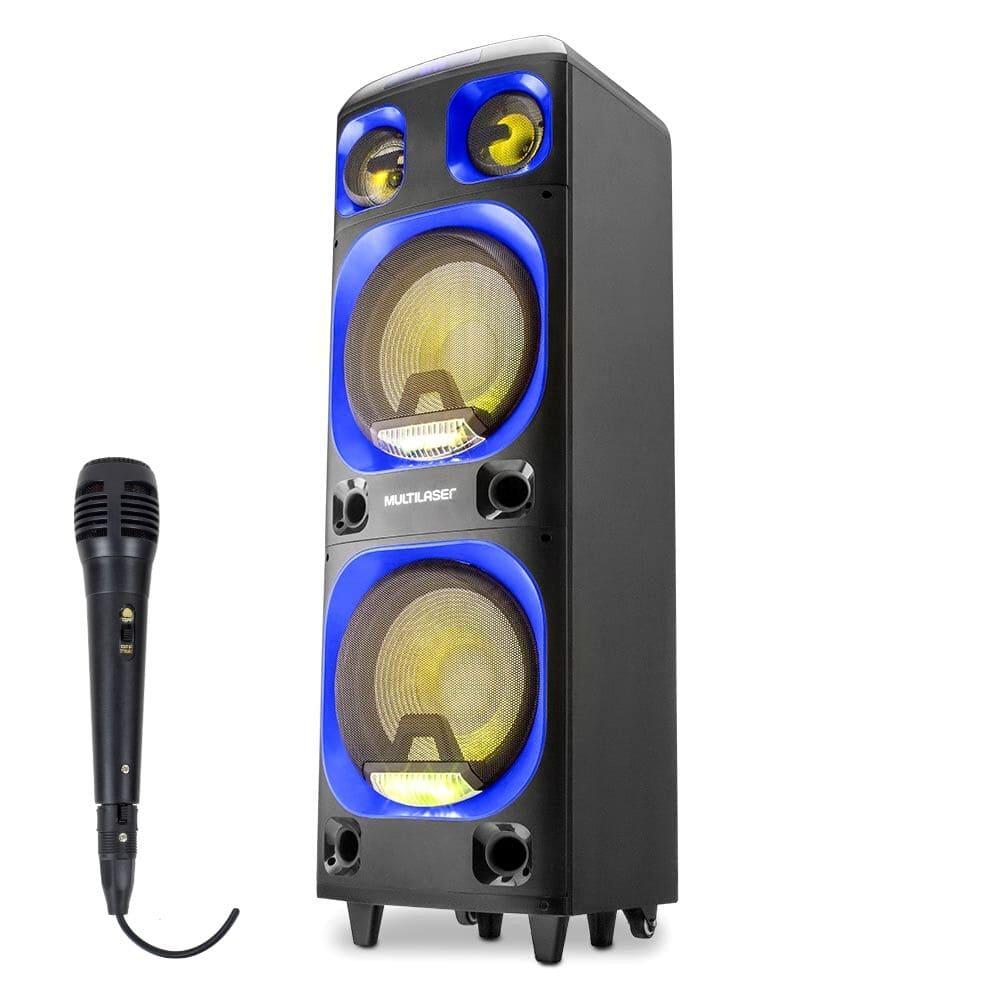 Caixa de Som Amplificada Multilaser SP 343 - 2000W Microfone Com Fio