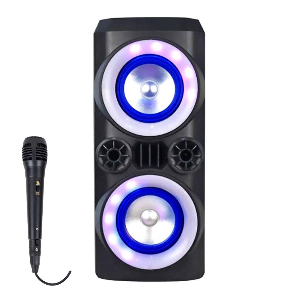 Caixa de Som Amplificada Multilaser SP379 - 300W Microfone Com Fio