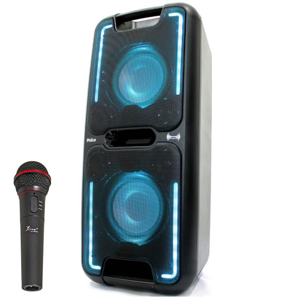 Caixa de som Amplificada Philco PCX 5501 200W c/microfone Bateria
