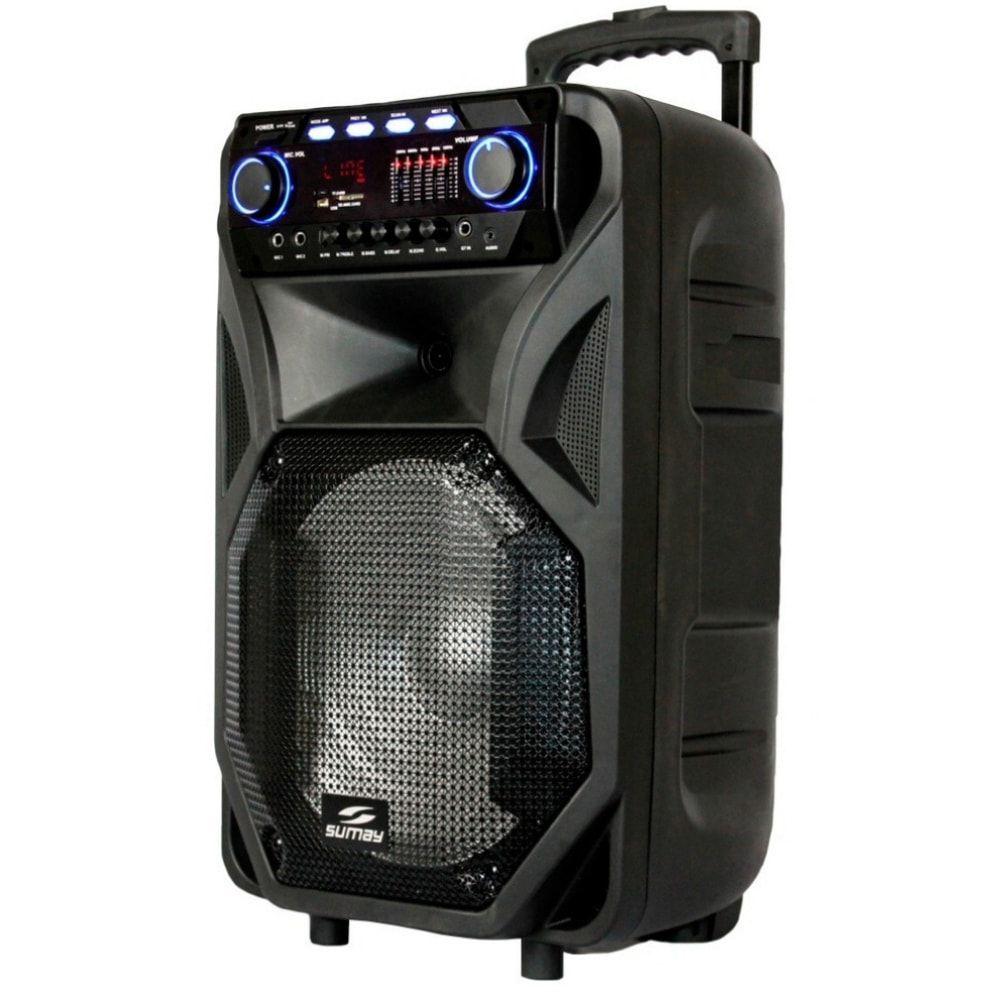 Caixa de som amplificada Sumay Thunder Black 400w c/microfone
