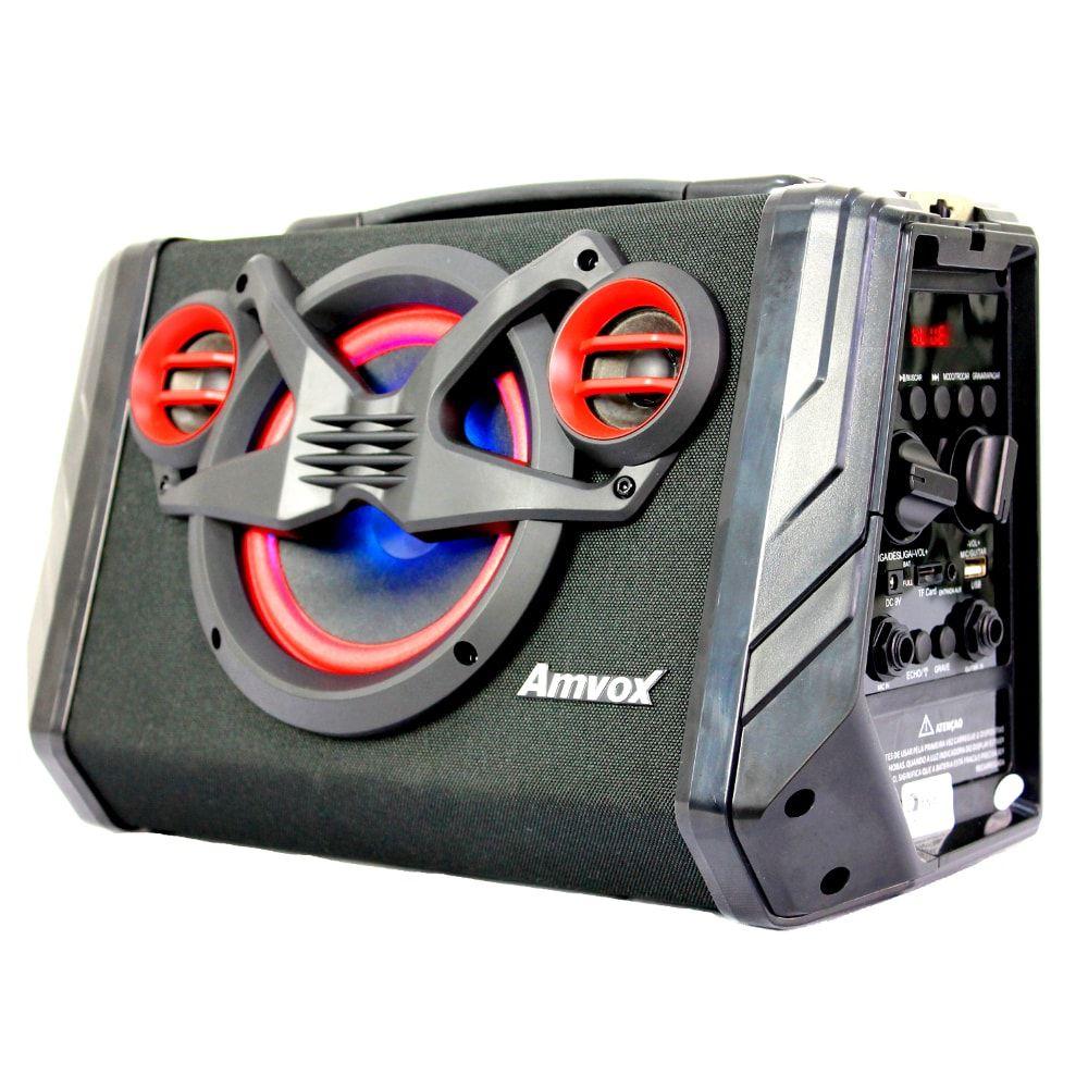 Caixa de som Bluetooth Amvox 110 Black 80w Portátil
