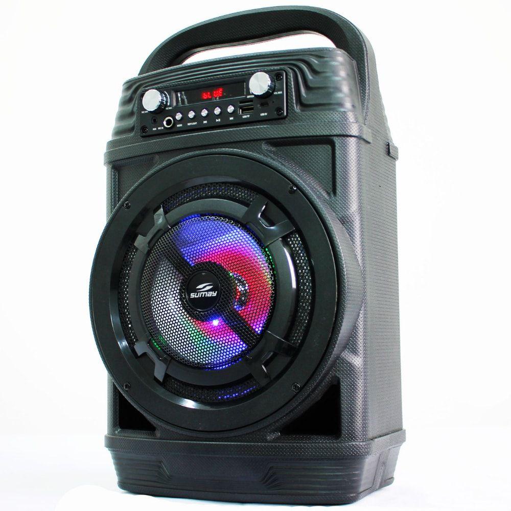 Caixa de som portátil Sumay Power Black 60w SM-17 Troca Pasta