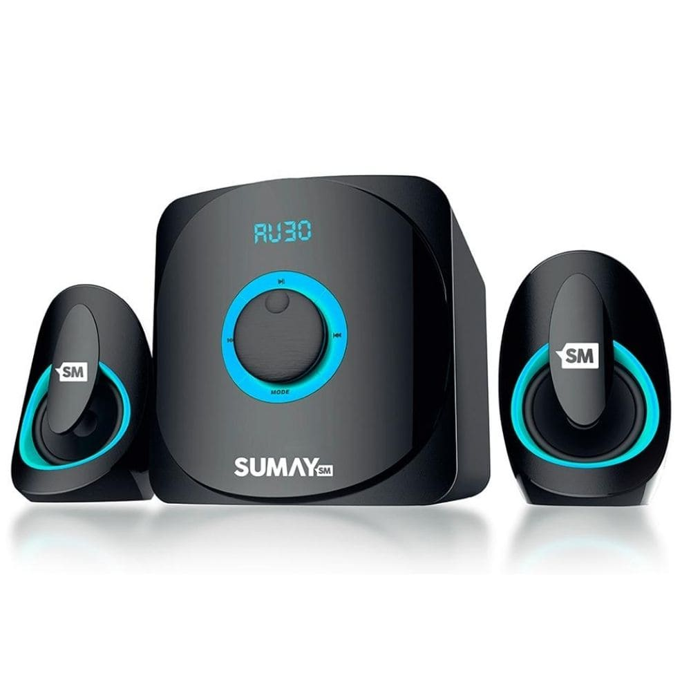 Caixa Som Home Theater Sumay Multimidia 2.1 Azul USB 3313b