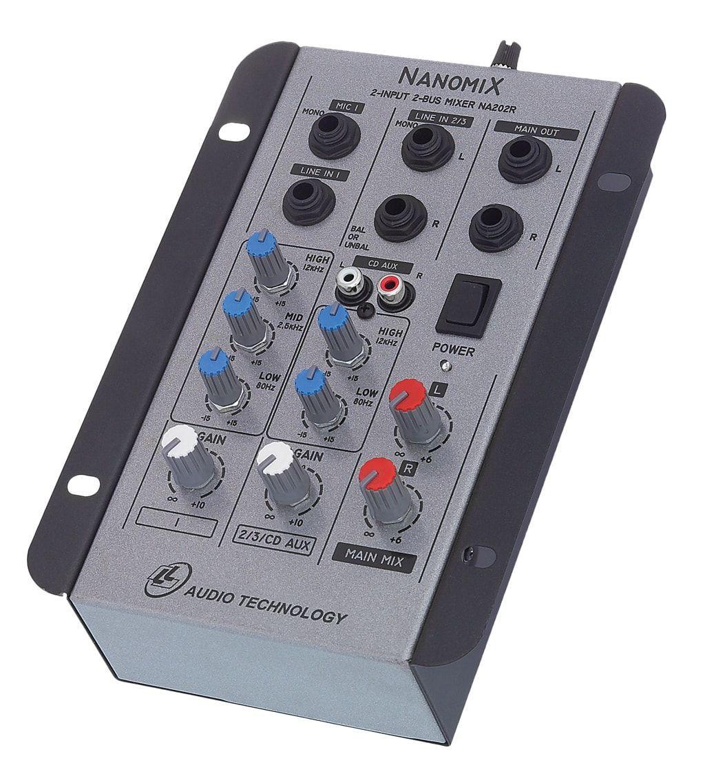 Mesa de som mixer LLAudio NA202R - 02 canais