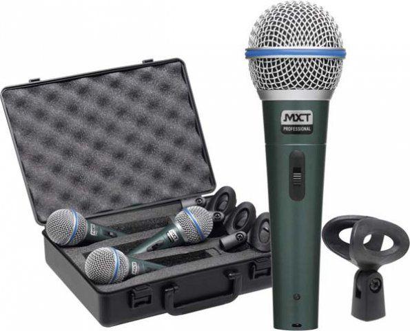 Microfone Profissional Mxt Bt58a Kit C/ 3 Peças Maleta E Cachimbo