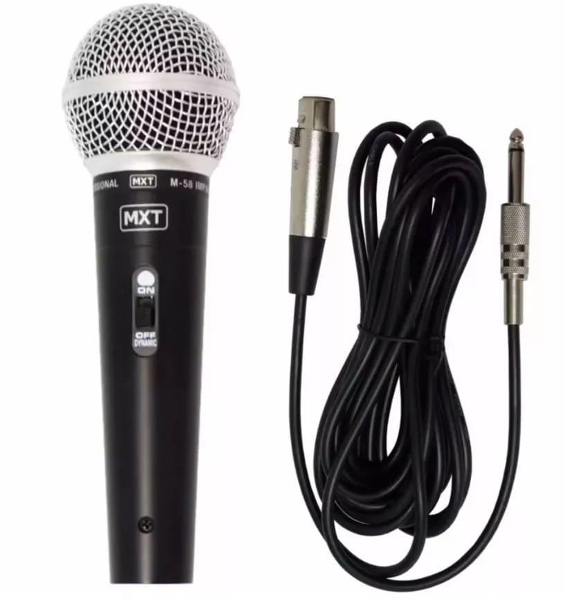 Microfone Dinâmico Profissional MXT M-58 + Cabo 3 Metros