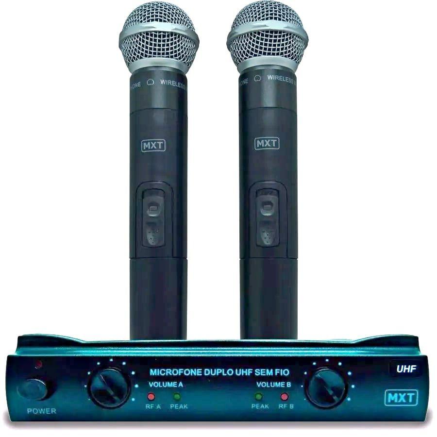 Microfone Profissional Mxt302 Sem Fio Duplo Mão Uhf maleta