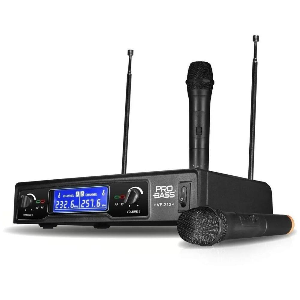 Microfone Sem Fio Duplo Vhf Fm Karaokê Aulas Probass Vf-212