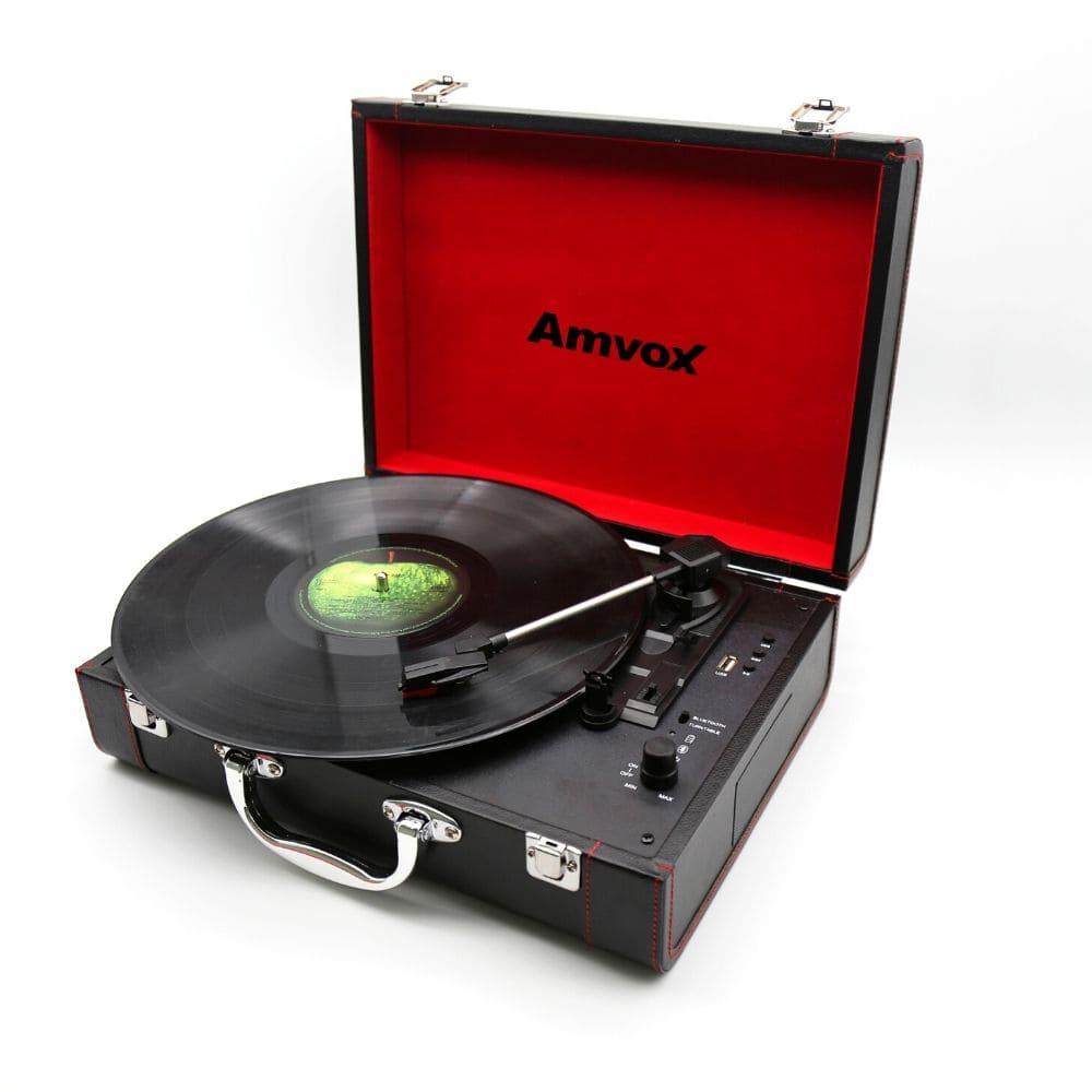 Vitrola Amvox Case em Couro USB 15w AVT1299 Preta Bluetooth USB