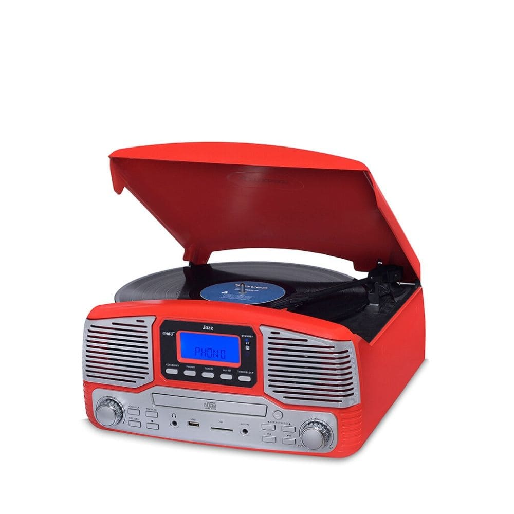 Vitrola Toca Disco e Toca CD Raveo Jazz Harmony Vermelha Bluetooth Radio