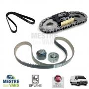 Kit correia dentada e tensor + Correia alternador + kit corrente comando Ducato / Boxer / Jumper 2.3 Original