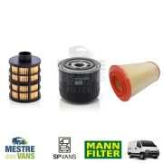Kit filtros Ar + Óleo + Combustível + 6lt óleo Ducato / Boxer / Jumper 2.3 MANN (Original)