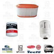 Kit filtros Ar + Óleo + Combustível HR .../12 8V Tecfil/Delphi